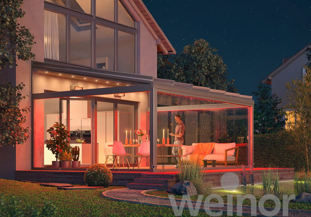 Terrassendach beleuchtet